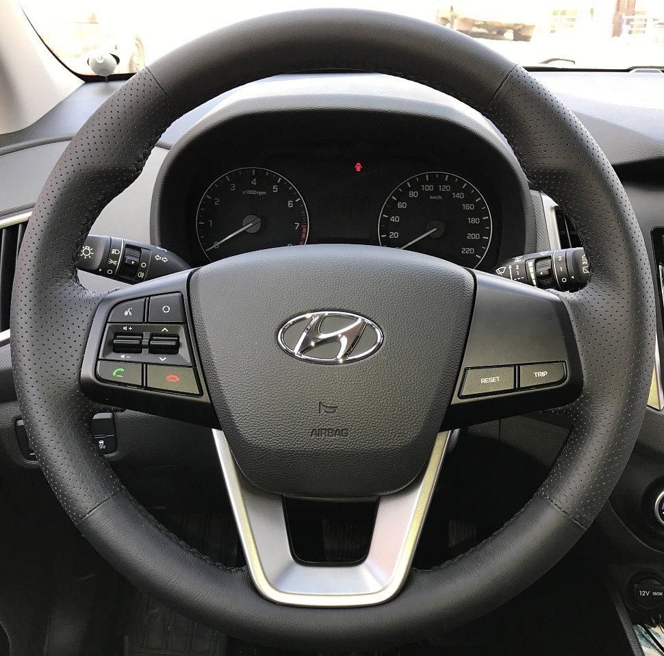 В продаже появилась кожаная накладка на руль Hyundai Creta (2016-н.в.), Hyundai ix25 (2014-н.в.), черная